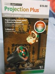 NIB WHIRL-A-MOTION & STATIC SANTA CLAUS CHISTMAS LED LIGHT SHOW PROJECTION PLUS