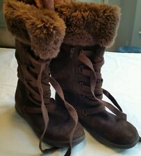 Women's Brown Suede Roxy Boots Size 8.5 Lace Up Zipper Faux Fur Top Shoes