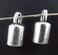 100pcs Tibetan Silver Smooth Cylinder Charms Pendants 14x7mm 9369