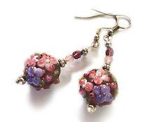 Silver Hook Lampwork Glass Beads Purple Flowers - Dangle Earrings (#n24)