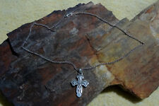 "James Avery Retired Sterling Lilies Cross Pendant 1-5/8"" & 20"" Long Chain 2.3mm"