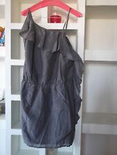 Vestido asimétrico NAF NAF 36 gris con SEDA con volante sexy NUEVO !