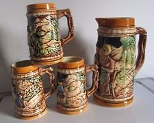 Beautiful Beer Stein Set 3 Mugs(5 1/4 H) and 1 Pitcher(9'' H 5'' W with handle)