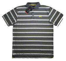 Mens Under Armour Polo Golf Shirt Short Sleeve Top Grey Yellow Striped XL