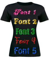 PERSONALISED IRON ON T SHIRT HEAT TRANSFER YOUR TEXT BRIDE HEN DO SPARKLE VINYL