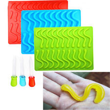 20 Cavity Snakes Worm Gummy Candy Chocolate Silicone Tray Mold Tools Mould SO