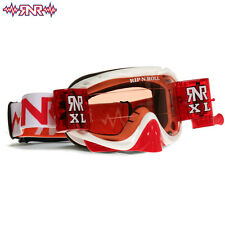Rnr RIP N Roll MX Hybride Goggle y compris XL ROLL OFF système couleur rouge blanc