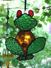 GREEN & AMBER RED EYED TREE FROG suncatcher STAINED GLASS LEADLIGHT KIDS GIFTS