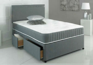 NEW CHENILLE DIVAN BASE WITH UNDER BED STORAGE DRAWERS - 4FT6 5FT 6FT CHARCOAL.