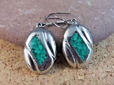 Vintage Alpaca Nickel Silver Mexico Green Inlay Turquoise Wire Earrings  #237