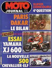 MOTO JOURNAL  638 Essai YAMAHA XJ 600 CAGIVA 125 WMX HUSQVARNA 400 WR DAKAR 1984