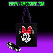 Minnie Mouse Day of the dead Sugar Skull Dia De Los Muertos Black Tote Bag
