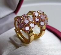 9ct Gold gf Hoop Earrings STUNNING PINK TOPAZ ALMOST SOLD OUT! ref 095