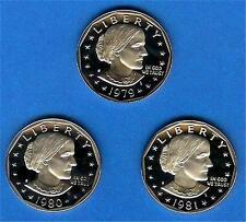 1979 1980 1981 Proof SBA Susan B Anthony Dollars 3 Coin Set Gem Proof