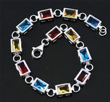 Solid 925 Sterling Silver, Blue Topaz, Garnet, Citrine Bracelet / Bangle + box