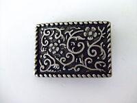Flower Design Small Antique Nickel Belt Buckle Made By Century Canada