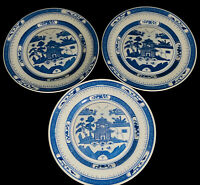 """3 Vintage Chinese Blue & White Porcelain Hand Painted Landscape Plate 8""""W"""