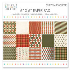 Simply Creative Christmas Cheer Paper Pad Card Making 30 Sheets 15 Designs x 2