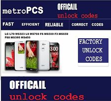 LG Unlock codes L70 MS323 L9 MS769 F6 MS500 F3 MS659 F60 MS395 MS450 MetroPCS