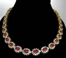 Handmade 925 Sterling Silver Zircon Ruby Cluster Necklace with 5x7 Oval