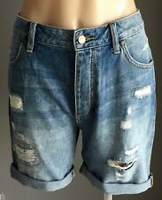 "Fab WRANGLER Relaxed Fit Distressed ""Boyfriend"" Denim Shorts Size 8"