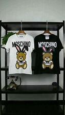 Hot New Men's&women Moschino Rabbit ear teddy bear Short Sleeve Cotton T-Shirt