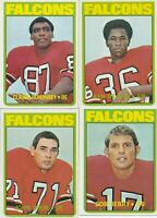 Atlanta Falcons Lot of 4 different 1972 Topps football Cards  partial team set