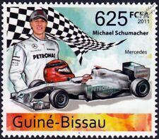 MICHAEL SCHUMACHER Mercedes-AMG Petronas F1 Race Car Stamp (2011 Guinea-Bissau)