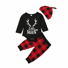 Newborn Infant Baby Boy Clothes Long Sleeve Romper Deer Plaid Pant Outfits Set
