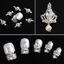 10pcs 3D Nail Art Rhinestone Crown Curved Alloy Metal Decoration Jewelry Gift