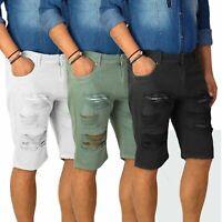 Bermuda Uomo Cotone con Tasconi Laterali Shorts Cargo Casual Strappi