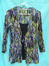 Cato Polyester Multi-Color Pleated Long Sleeve Faux Layered Knit Top Size S