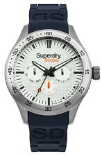 Superdry 'Scuba Multifunctional' White Multi Dial and Navy Silicone Strap Watch