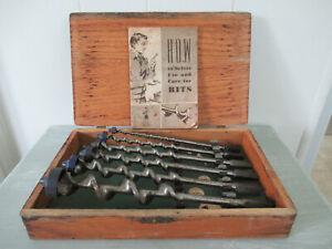 Vintage Irwin 6 Piece Auger Bit Set Box / Manual