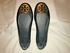 Tory Burch Minnie Ballet Flat Black Leather Gold/Logo Comfort 7