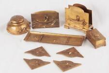 Antique 9pc.Jennnings Bros JB 2187-91 Viking Ship Arts & Crafts Desk Set RARE!