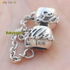 S925 Sterling Silver Love Always Safety Chain Charm Bead Fit European Bracelet