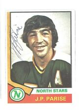 J.P. PARISE SIGNED AUTOGRAPHED 1974 TOPPS CARD NORTH STARS RARE!