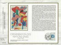 FEUILLET CEF 1er JOUR SUR SOIE FRANCE ORGANISATION DES NATIONS UNIS 1985