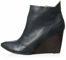 COCLICO SHOES JACYNTHE WEDGE ANKLE BOOTS BLUE LEATHER BOOTIES NEW 39.5 9 $435