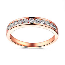 Solid 10K Rose Gold Bands Round 0.44ct Genuine Moissanite Unisex Ring Jewelry