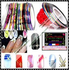 Lot 8 Couleurs Différents Striping Tape Nail Art Deco Ongle Fil Bandes Sticker