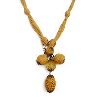 Collier femme sautoir jaune soleil, coton ethnique perles breloques pendentif