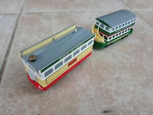 Thomas Trackmaster Flora Tram & Sodor carriage, batt operated. Old Style. Rare