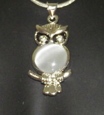 New 925 Sterling Silver And Crystal Owl Pendant Charm With Free Chain