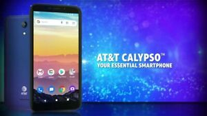 """AT&T Calypso Android Phone - 5.5"""" LCD, 4G LTE, 16GB, Android 10, Blue (U318AA)"""