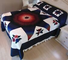 NEW! AMISH HANDMADE QUILT! ~ Improved Lone Star ~ with Applique ~ 105 x 119