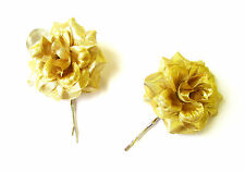 2 x Gold Metallic Rose Flower Hair Grips Clips Bridesmaid Bobby Pins Slides 2097