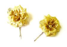 2 x Gold Metallic Rose Flower Hair Grips Clips Bridesmaid Bobby Pins Slides 2097