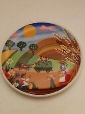 Miniature Ceramic Plate Souvenir From Austria Schlogl Vienna Farming Scene
